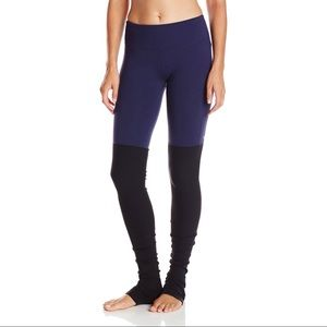 ALO Yoga Black and Rich Navy Goddess Leggings